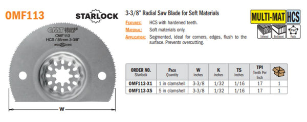 Multi-Tool 3-3/8 Inch Radial Saw Blade for Soft Materials
