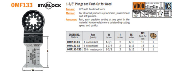 Multi-Tool 1-3/8 Inch Plunge & Flush-Cut for Wood