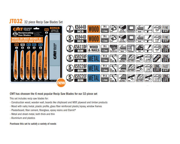 Reciprocating Saw Blades - 32 Piece Set