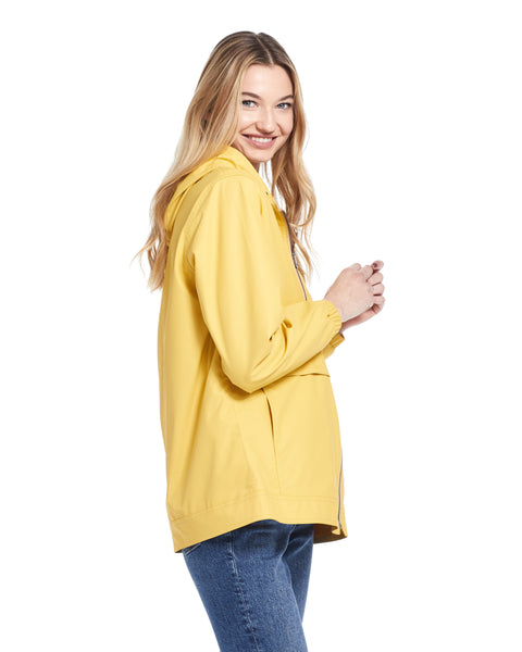 Women's Hooded Rain Slicker in Golden Rod