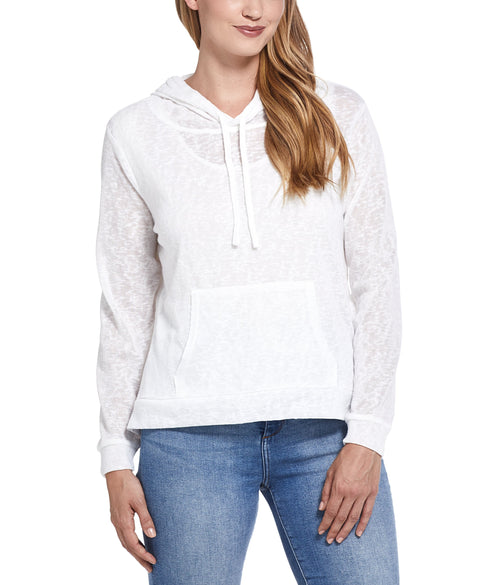 Womens Slub Hoodie Pullover in Cream