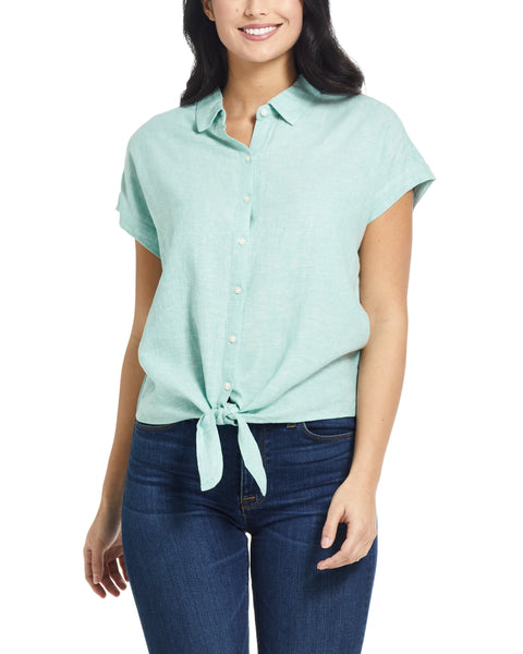 Tie Front Linen shirt in Green