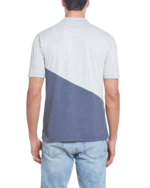 DIAGONAL COLOR BLOCK POLO IN HEATHER GREY