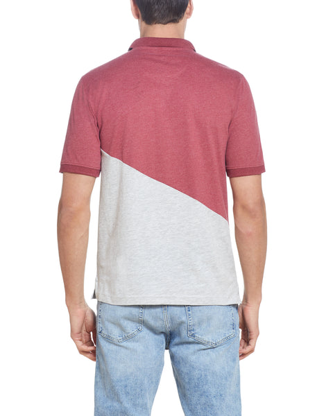 DIAGONAL COLOR BLOCK POLO IN RIO RED