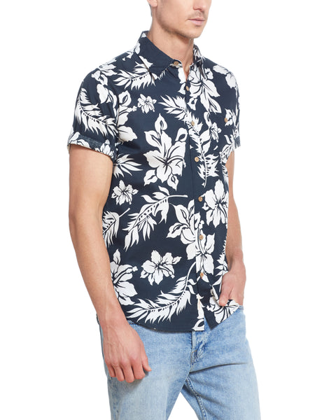 TROPICAL PRINT POPLIN SHORT SLEEVE SHIRT IN NAVY