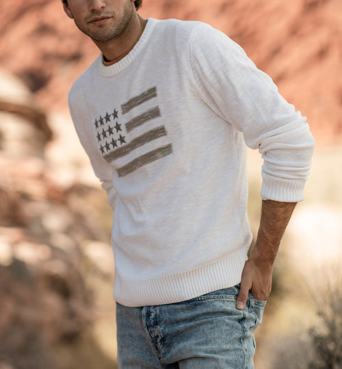 AMERICAN FLAG EMBROIDERED SWEATER IN CHALK