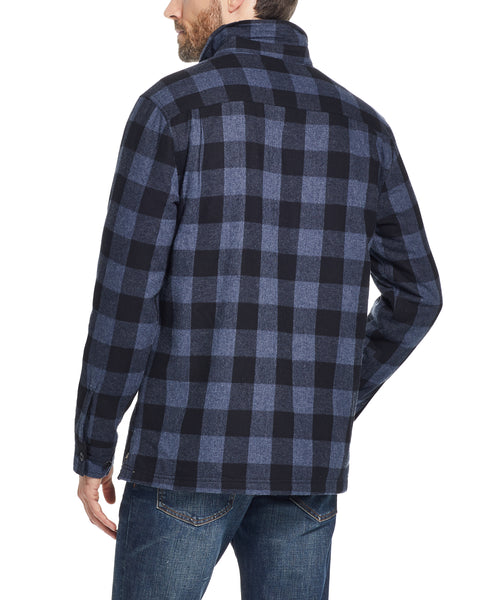 PLAID SHERPA LINED SHIRT JACKET IN DARK NAVY