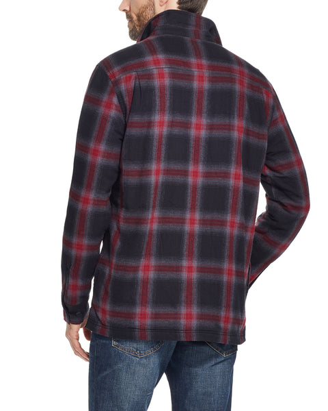 PLAID SHERPA LINED SHIRT JACKET IN CAVIAR