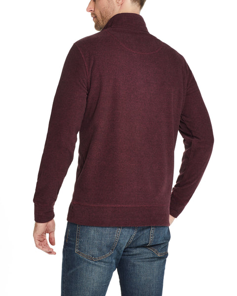 QUARTER ZIP MICRO FLEECE PULLOVER IN RED MAHOGANY