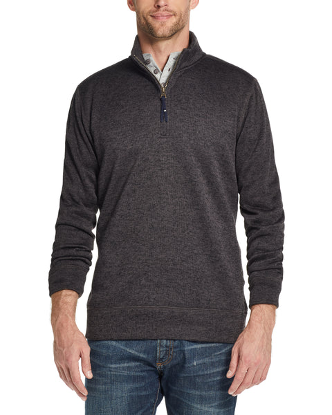 QUARTER ZIP MICRO FLEECE PULLOVER IN GREY