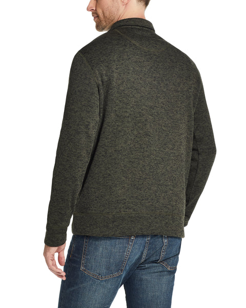 QUARTER ZIP SWEATER FLEECE PULLOVER IN BLACK