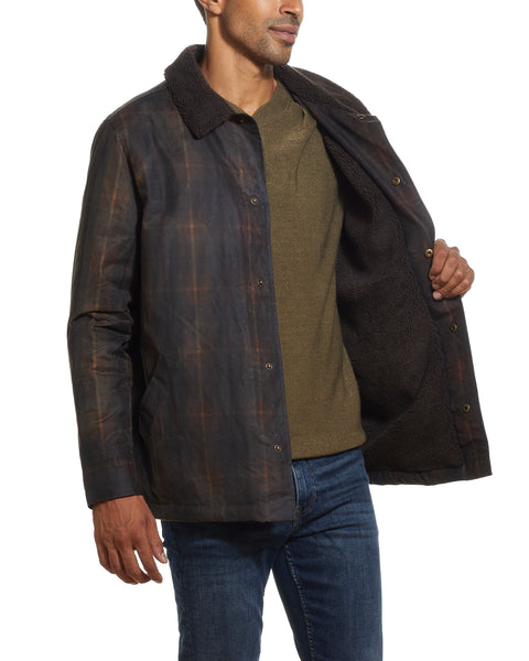 Tartan Cotton Wax Coat in Brown