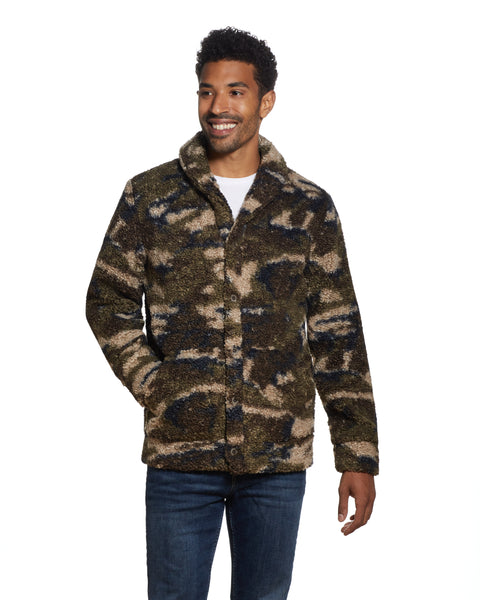 CAMO SHERPA SHAWL COLLAR JACKET IN OLIVE