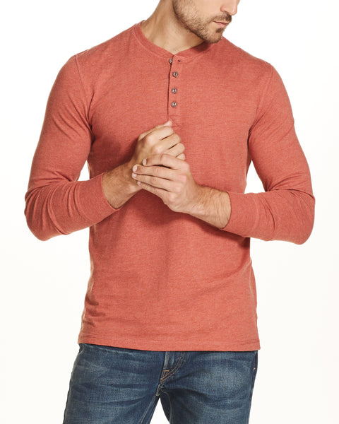 LONG SLEEVE BRUSHED HENLEY IN BURNT ORANGE