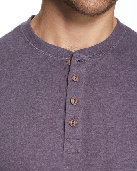 LONG SLEEVE BRUSHED HENLEY IN PURPLE HEATHER