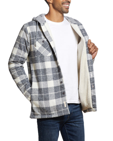 SHERPA LINED FLANNEL SHIRT JACKET IN CHARCOAL