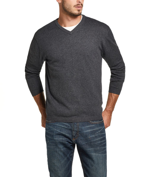Cotton Cashmere V Neck Sweater in Charcoal Heather