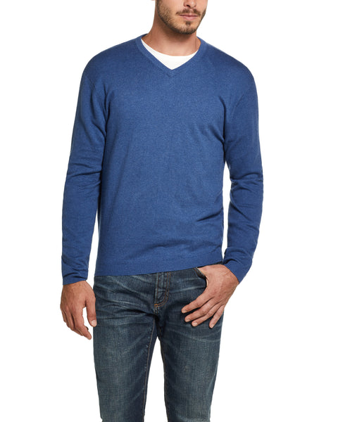 Cotton Cashmere V Neck Sweater in Lake Heather