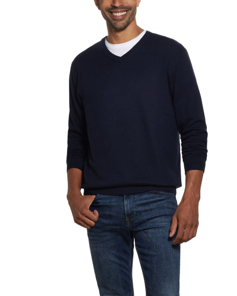 Cotton Cashmere V Neck Sweater in Navy