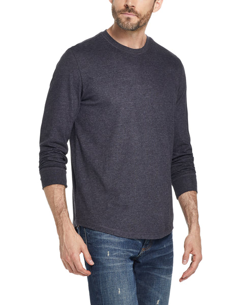 LONG SLEEVE BRUSHED CREW IN BLACK HEATHER