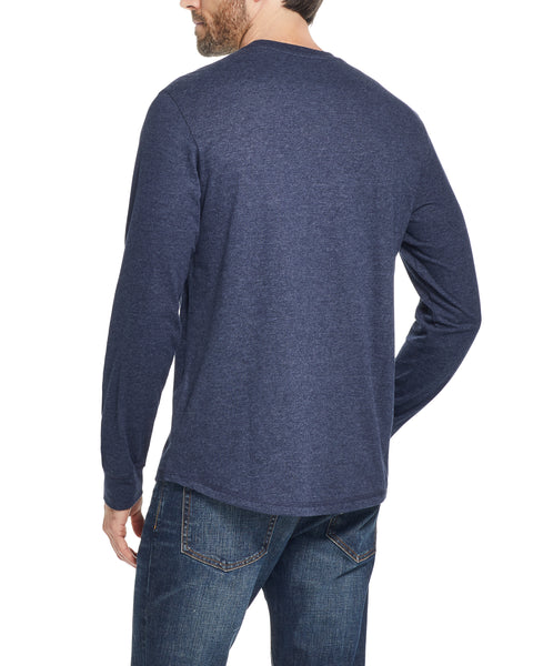 LONG SLEEVE BRUSHED CREW IN MARITIME BLUE