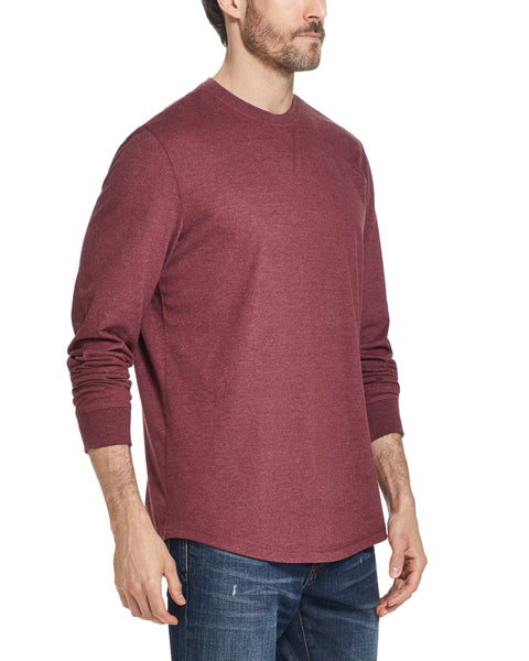 LONG SLEEVE BRUSHED CREW IN PORT HEATHER