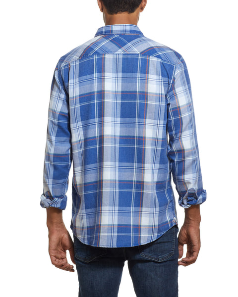 Long Sleeve burnout flannel Shirt IN MEDIEVAL BLUE
