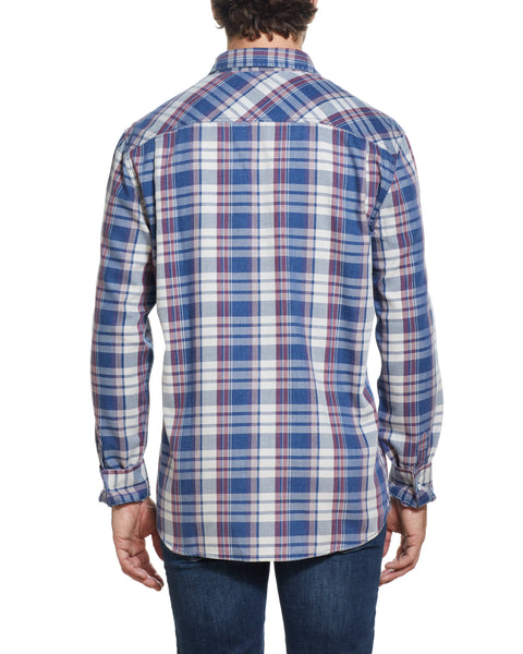 Long Sleeve burnout flannel Shirt IN PATRIOT BLUE