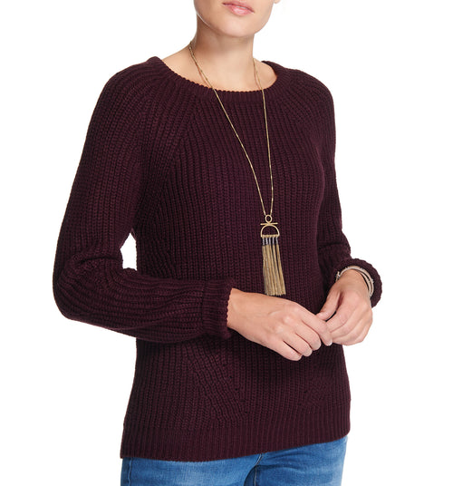 Diamond Crew Sweater Deep Burgundy