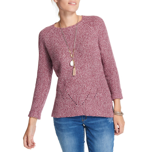 Soft Detail Sweater in Wine Marl