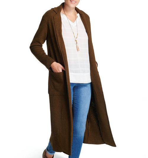 Wool Blend City Duster Olive