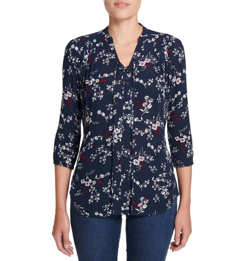Floral Lace-Up Shirt Persian Blue