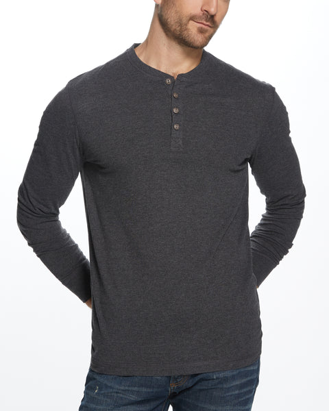 LONG SLEEVE HENLEY IN BLACK HEATHER