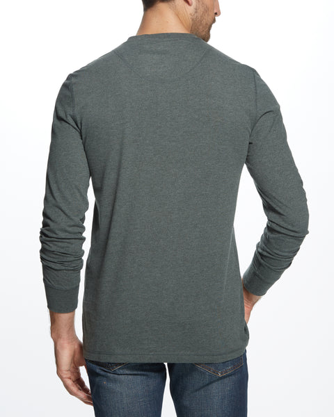 LONG SLEEVE HENLEY IN HEATHER SCARAB