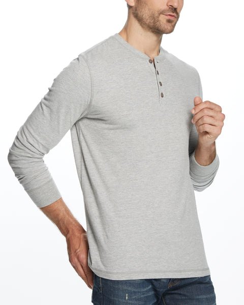 LONG SLEEVE HENLEY IN LIGHT GREY HEATHER