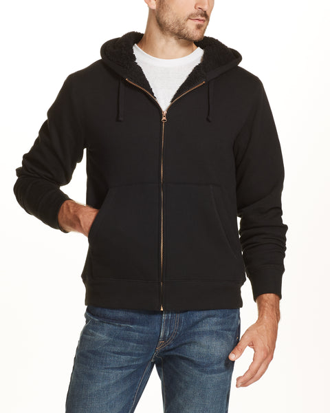 SHERPA LINED FLEECE HOODIE IN BLACK