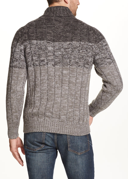 OMBRE SHAWL SWEATER IN CARBON HEATHER