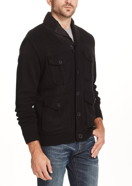 SHERPA LINED SHAWL-COLLAR CARDIGAN IN BLACK