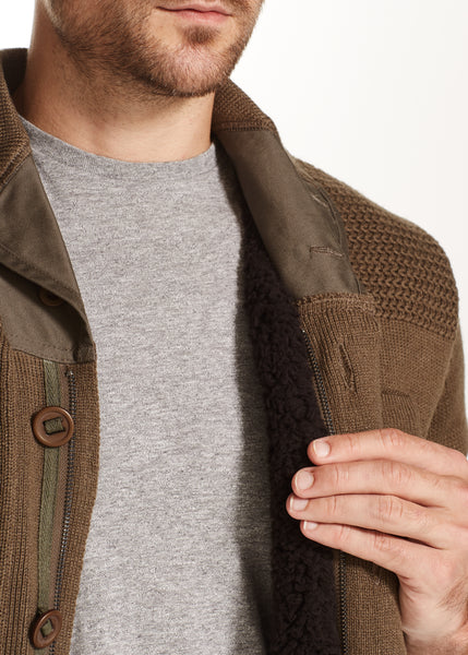 SHERPA LINED SHAWL-COLLAR CARDIGAN IN OLIVE