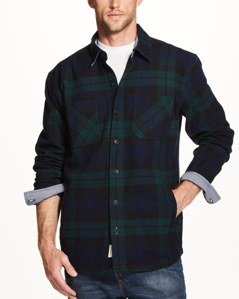 TWILL PLAID SHIRT JACKET  IN BLACKWATCH