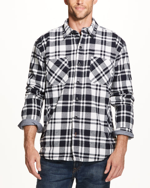 TWILL PLAID SHIRT JACKET  IN WHITE