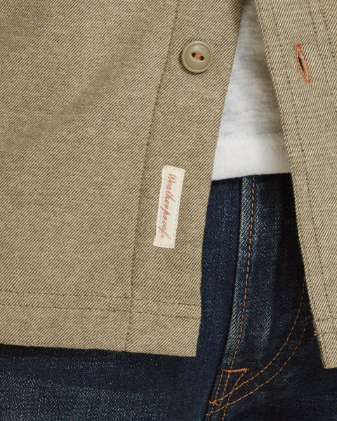 SHERPA LINED SHIRT JACKET  IN DUSTY OLIVE