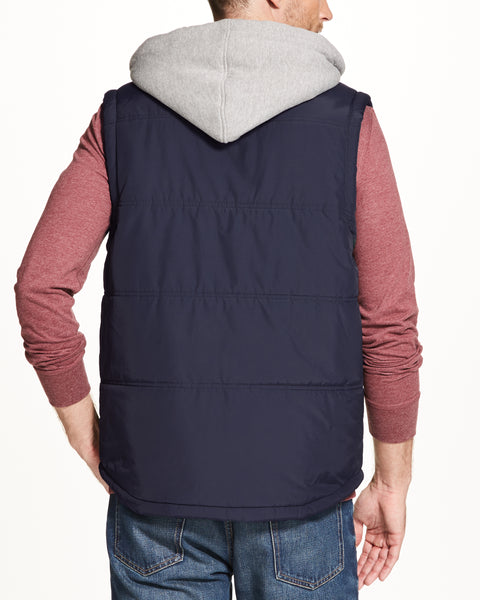Hooded Puffer Vest in MARITIME BLUE