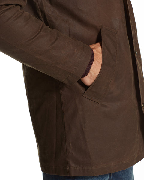 Long Cotton Wax Coat in Brown
