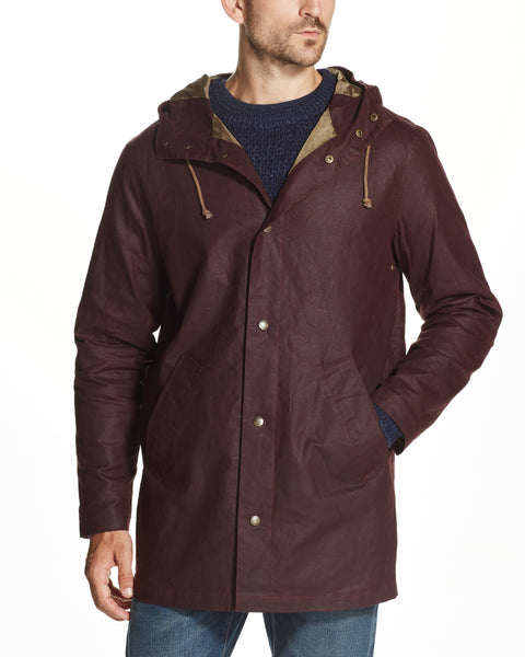 Long Cotton Wax Coat in Burgundy