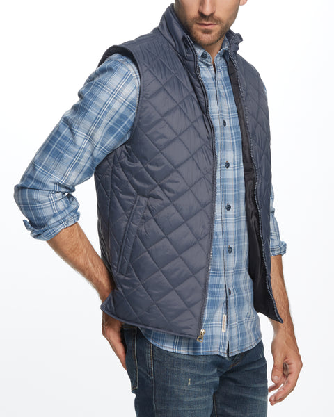 DIAMOND QUILTED VEST IN GREY