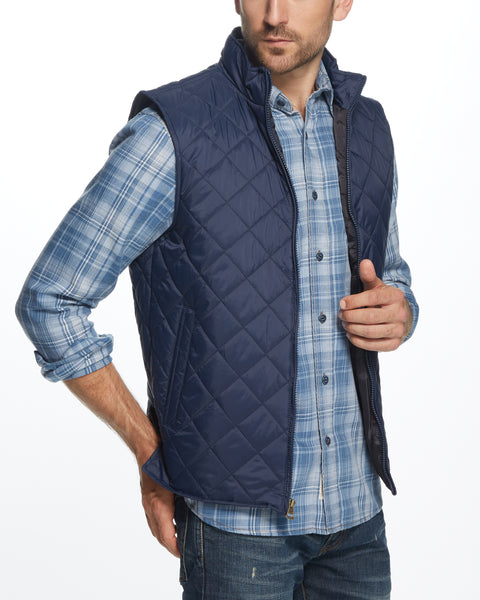 DIAMOND QUILTED VEST IN NAVY