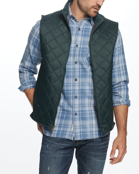DIAMOND QUILTED VEST IN SCARAB