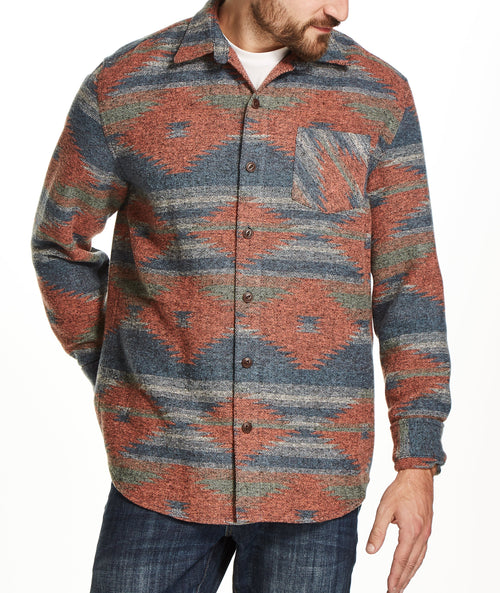 JACQUARD SHIRT JACKET IN CHILI OIL