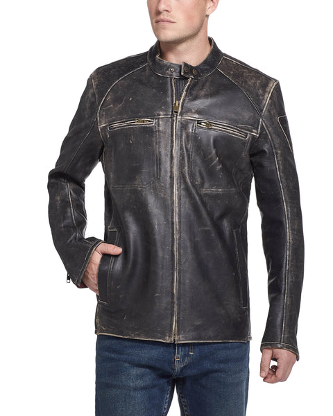Vintage Leather Moto Jacket in Washed Black